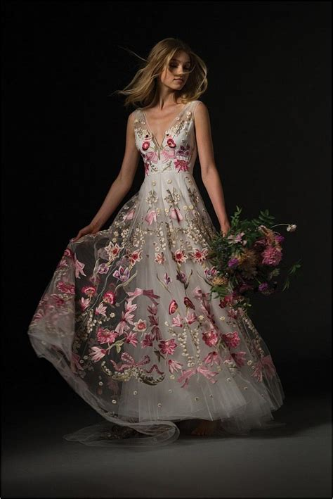 Pink Flower Dress pink floral embroidered wedding dress wedding gallery