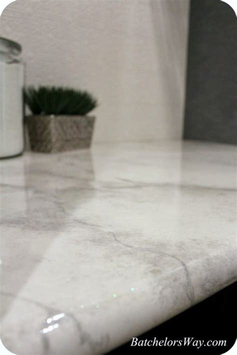 Faux Marble Laminate Countertops by Remodelaholic 30 Diy Faux Marble Countertops