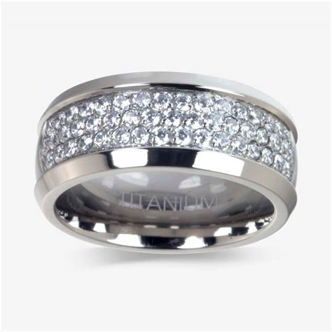 Mens Ring by S Titanium Diamonflash 174 Cubic Zirconia Ring