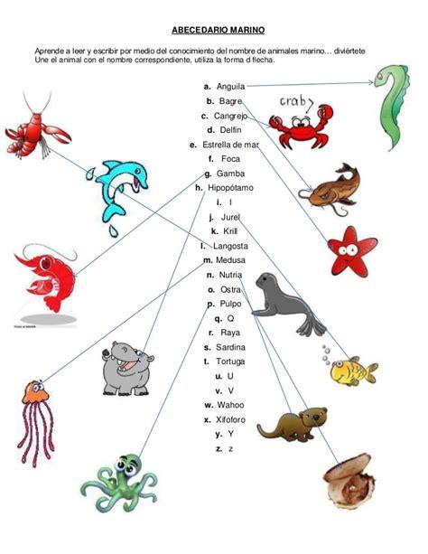 imagenes de animales marinos con sus nombres abecedario marino en word copia