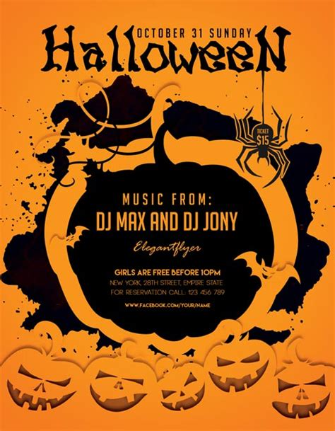 halloween party freebie flyer template download for