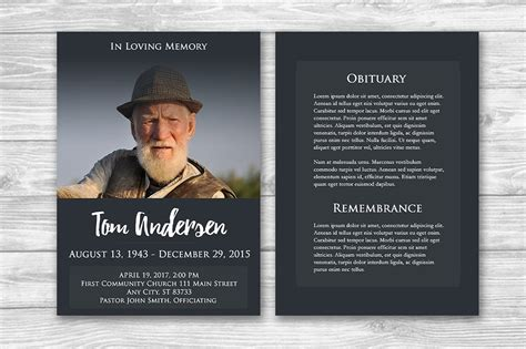 memorial card template photoshop free funeral program photoshop template brochure templates