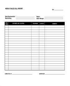 weekly sales call report template sales call report template 11 free word pdf format