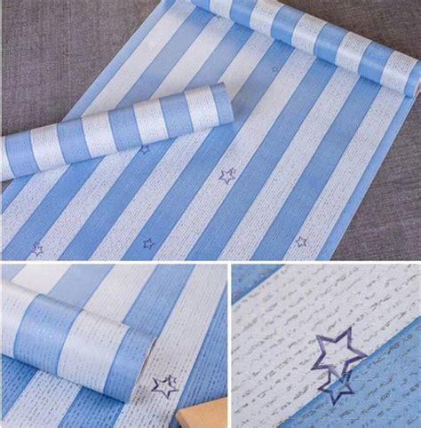 jual wallpaper biru wallpaper garis biru stiker
