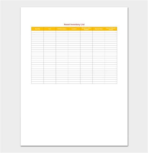 asset inventory template asset inventory template 4 for excel pdf format