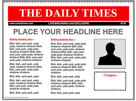 news templates free 3 newspaper templates for teachers educational