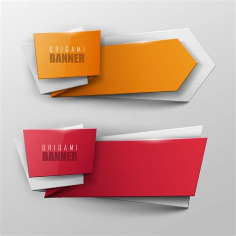How To Make A Paper Banner - colored origami banner shiny vector 05 vector banner