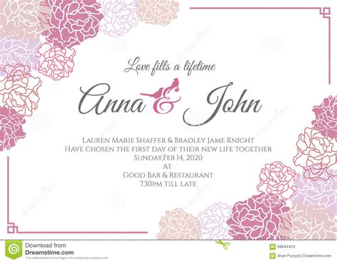 Wedding Anniversary Cards Design Vector by Wedding Card Pink Floral Frame Vector Template