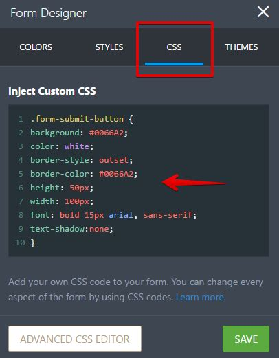button color html how to customize the submit button with css jotform