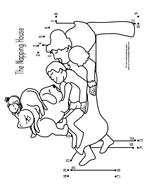 napping house coloring page napping house coloring pages