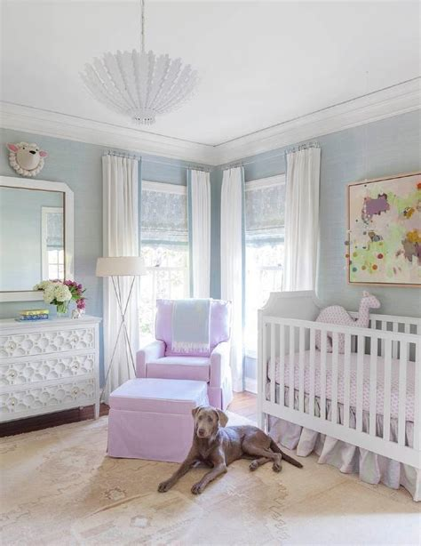 lavender nursery with gray crib transitional nursery