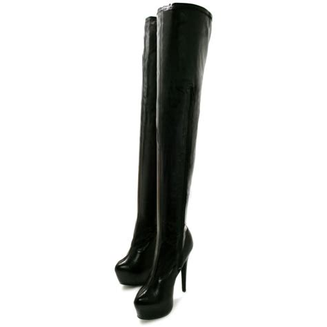 black high heel boots leather rosa concealed platform thigh high heel boots black