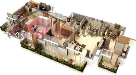 4 Bedroom House Plans One Story by 3d Floor Plans 3d House Design 3d House Plan Customized