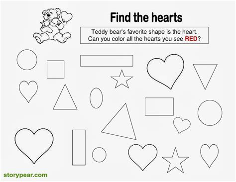 Free Printable Preschool Valentine Worksheets | story pear free valentine day s printable sheets for