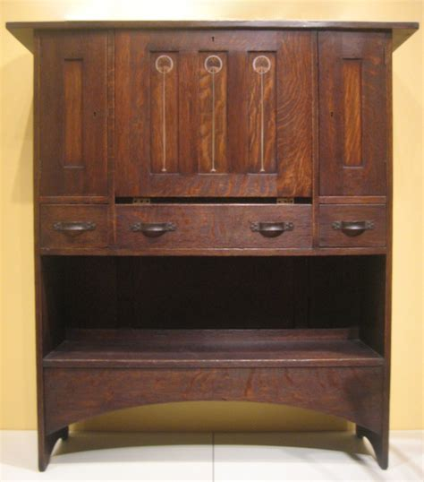 Harvey Ellis Desk by File Oak Wood Inlay And Brass Arts And Crafts Desk By