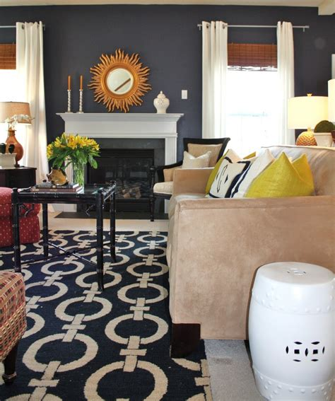navy rug living room navy living room the gold accents moving soon