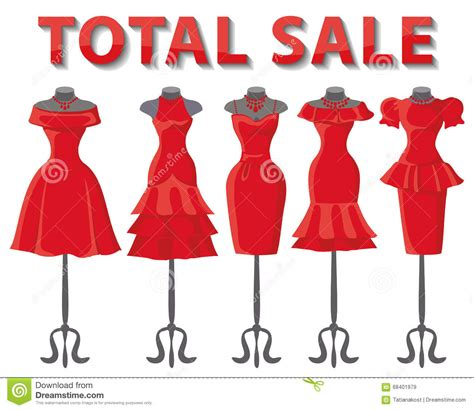red summer dresses on mannequin total sale stock vector
