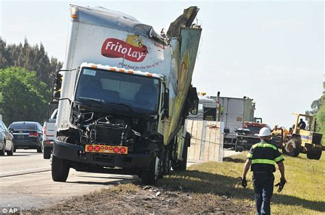 truck crashes budweiser truck crashes into frito lay truck leaving