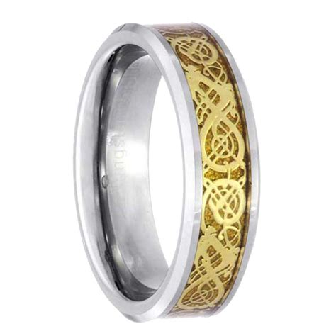 tungsten celtic scroll inlay ring s wedding