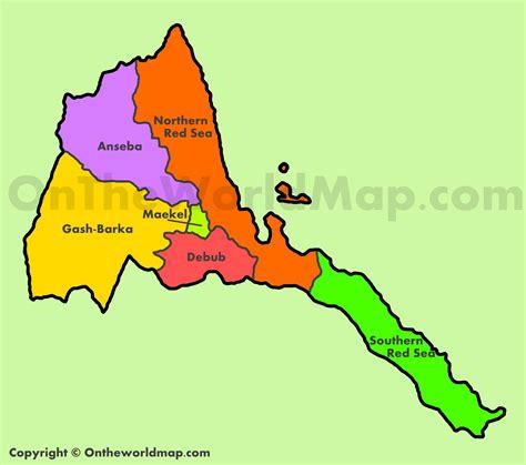 eritrea map administrative map of eritrea