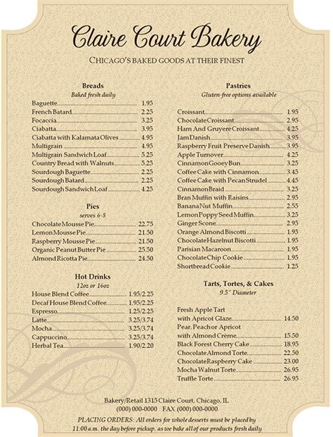 menu template pdf bakery menu templates 28 free word psd pdf eps