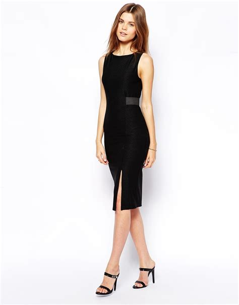 asos pencil dress in rib with belt detail in black lyst