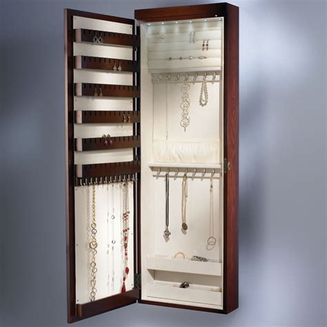make jewelry armoire the 45 quot wall mounted lighted jewelry armoire hammacher