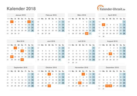 Jahreskalender Mit Kw Kalender 2018 Mit Feiertagen