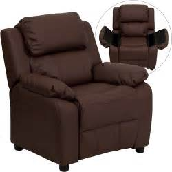 flash furniture recliner with storage arms brown