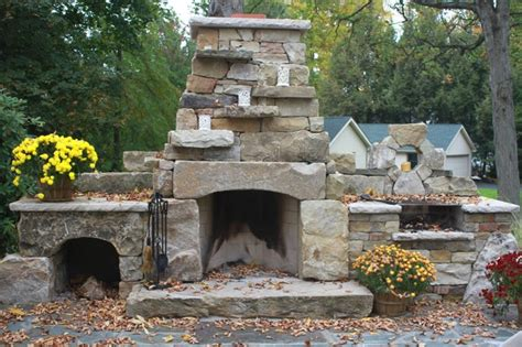 Outdoor Stacked Fireplace With Hearth Fireplaces Dry Stack Outdoor Fireplace Rustic Patio Other Metro