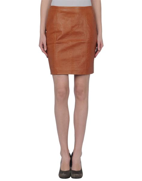 brown leather skirt masscob leather skirt in brown lyst