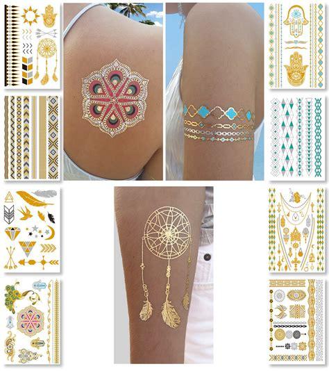 press on tattoos nhi metallic temporary tattoos 150 flash
