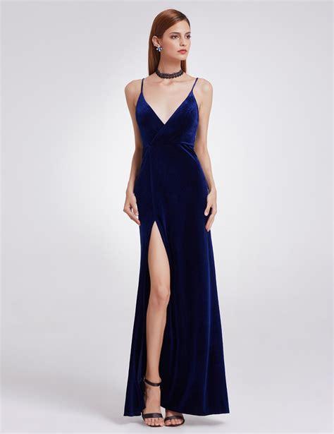 Spaghetti Velvet Dress velvet evening dress spaghetti slit prom