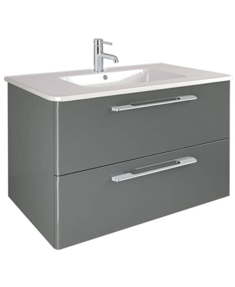 M S Bathroom Furniture Ramia Gloss Grey Ramia Gloss Grey 80cm Wall Hung Vanity Unit 2 Drawer