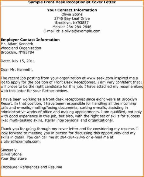 sle cover letter for office front desk receptionist cover letter sle 25 images