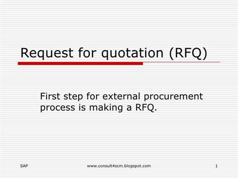 Request For Quotation Rfq Request A Quote Email Template