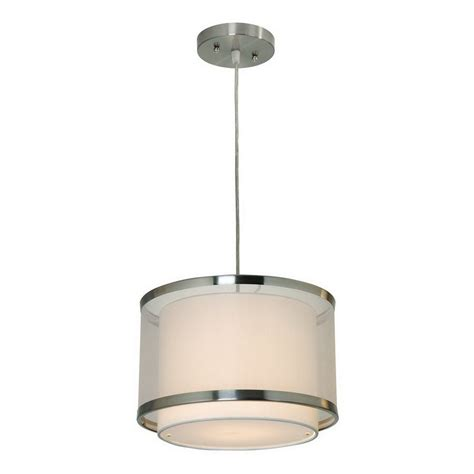Nickel Mini Pendant Light Shop Trend Lighting 12 In W Brushed Nickel Mini Pendant Light With Fabric Shade At Lowes