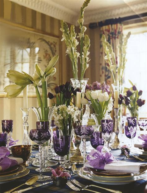the color purple setting colorful tabletop trend for fall tinted glassware