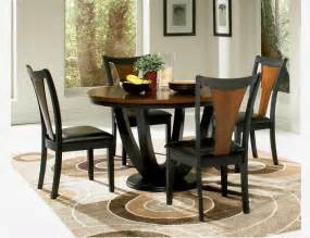Rooms To Go Kitchen Furniture by F 5 Pc Black Cherry Wood Dining Set Round Table Chairs