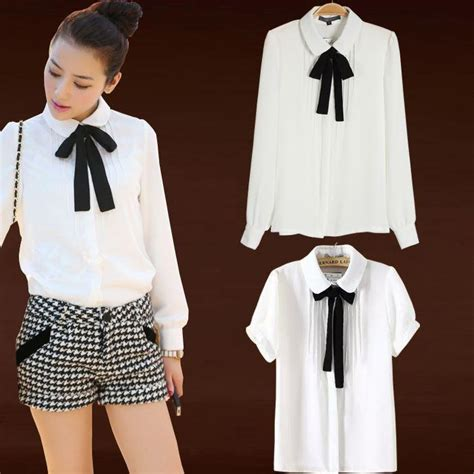 Rne23 Japan Ribbon Blouse japanese college wind ribbon bow doll collar white