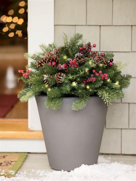 pre lit outdoor christmas urn arrangement  orders