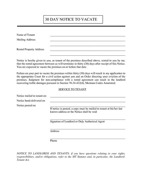 template for 30 day notice to landlord 10 best images of 30 day notice to vacate property letter