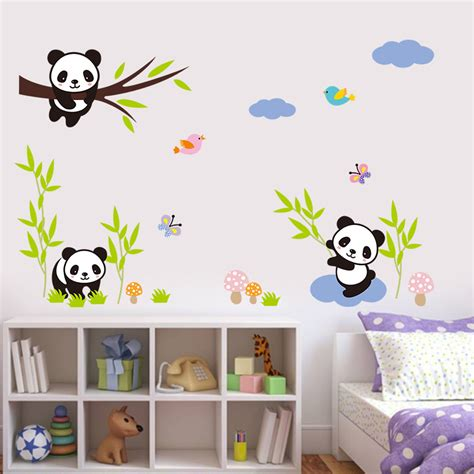Nursery Wall Tree Stickers diy forest panda bamboo birds tree sky wall stickers for