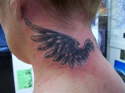 tattoo neck wings black ink wing tattoo on back neck