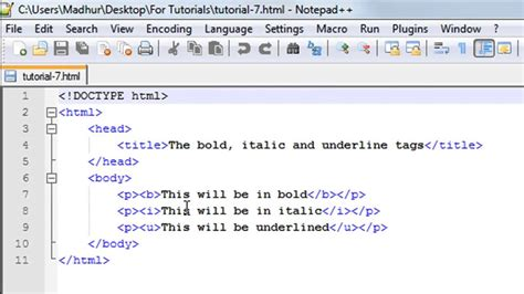 html tutorial a tag html tutorial 7 the bold italic and underline tags