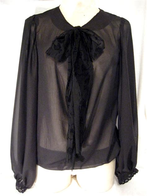 Sheer Black Blouse With Bow sheer black chiffon bow blouse sewing projects