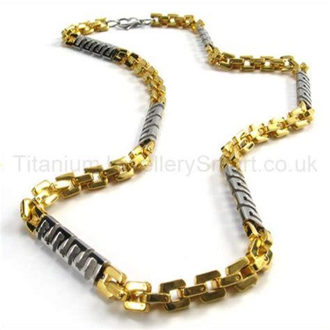 gold quadrate link cool mens titanium necklace 19080 163 157