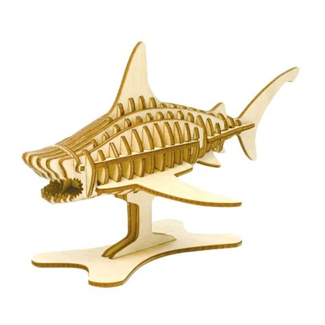 Puzzle Kayu Abjad Bentuk Ikan jual kigumi 3d puzzle kayu ikan hiu model kit