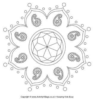 india pattern coloring page diwali colouring pages
