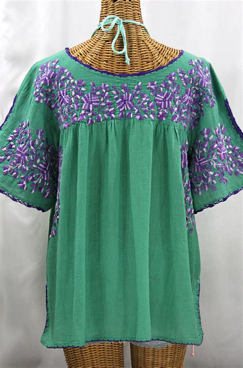 Blouse By Liblre quot lijera libre quot plus size mexican blouse green purple mix